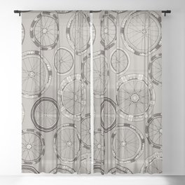 bike wheels stone Sheer Curtain