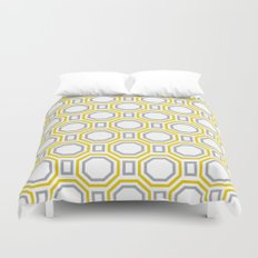 Polygonal pattern - Golden Yellow and Gray Duvet Cover