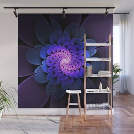 Spiraling Flower Fractal in Blue and Purple Wall Mural