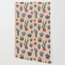 Potted Cacti and Succulents on Sahara Rose background. Wallpaper
