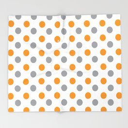 YELLOW AND GRAY DOTS Abstract Art Throw Blanket