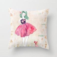 Pink cat Throw Pillow