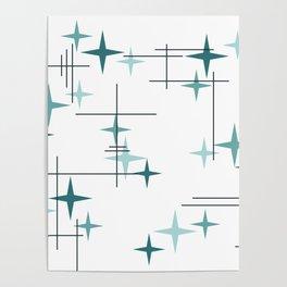 Mid Century Modern Stars (Teal) Poster