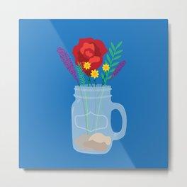 Mason jar + flowers Metal Print