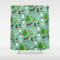 merry christmas Shower Curtains featuring Merry Christmas  by Marcelo Romero