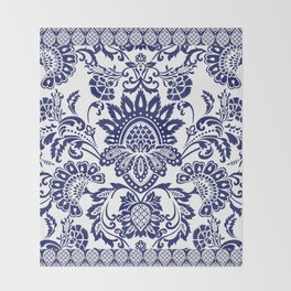 damask blue and white Throw Blanket