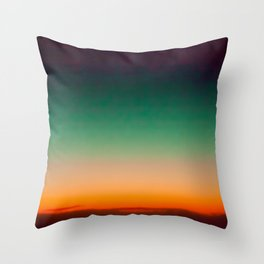 Green and Yellow Magic Dawn in the Sky (Vintage Nature Photography) Throw Pillow