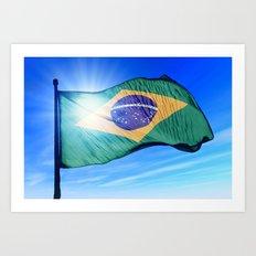 Brazil flag waving on the wind Art Print