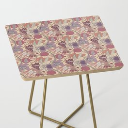 Seven Species Botanical Fruit and Grain in Mauve Tones Side Table
