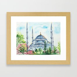 Istanbul architecture watercolor. Framed Art Print