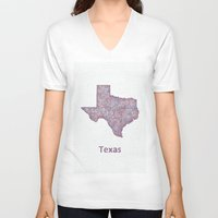 texas V-neck T-shirts featuring Texas by David Zydd