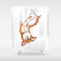 corgi Shower Curtains featuring Corgi by Becca Hawk