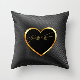 Creation of Adam inside a golden heart and metallic texture Throw Pillow