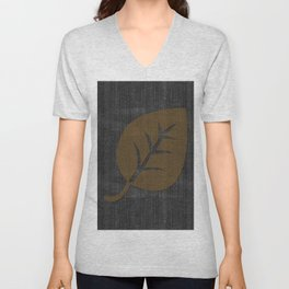 Giant Gold Leaf Black Denim Unisex V-Neck