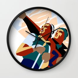 Hashtag ski fun Wall Clock