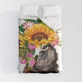 Sloth with Sunflower Crown Comforters