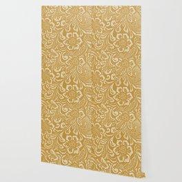 Tan & Cream Tooled Leather Wallpaper