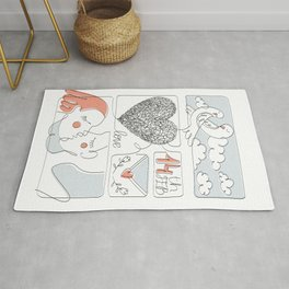 Cute hand-drawn illustration of Valentine's Day. Love card Rug