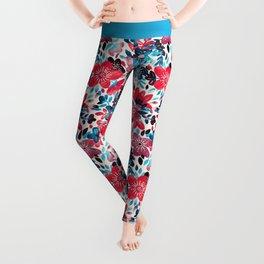 Happy Red Flower Collage Leggings