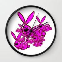 bunnies Wall Clocks featuring Bunnies by Christa Bethune Smith