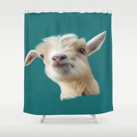 goat Shower Curtains featuring Goat by Lexi Designs