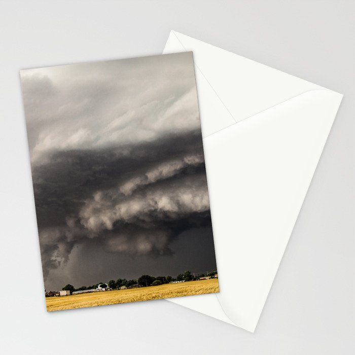 Ominous - Storm Looms Over Small Town In Oklahoma Stationery Cards