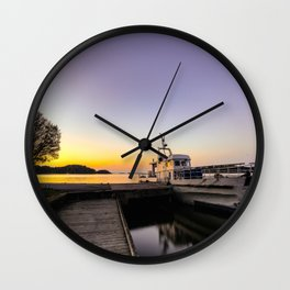 Mystic Ship By the Pier In The Sunset Wall Clock