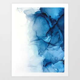 Blue Tides - Alcohol Ink Painting Art Print