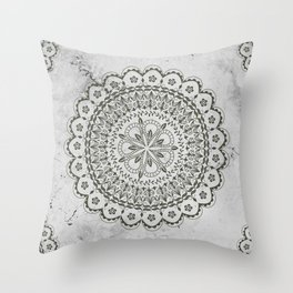 Moroccan Mandala and grey marble Throw Pillow