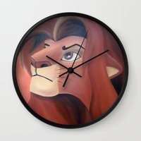 simba Wall Clocks featuring Simba by Jgarciat