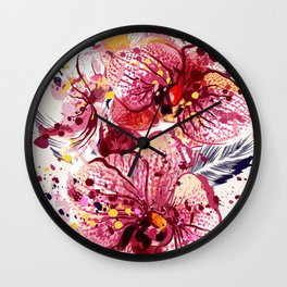 Tropical orchids painted in watercolor style with ink spots Wall Clock