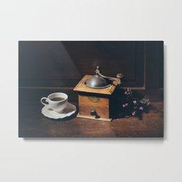 Vintage still life with coffee grinder Metal Print