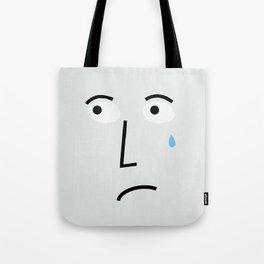 So Sad Crying Face in Gray Tote Bag