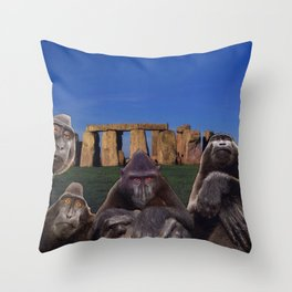 Monkeys at Stonehenge Throw Pillow