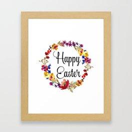 Happy Easter floral wreath Framed Art Print