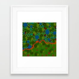 Untitled, green/blue dots Framed Art Print