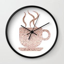 Sparkling rose gold coffee mug Wall Clock