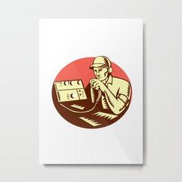 Ham Radio Operator Circle Woodcut Metal Print