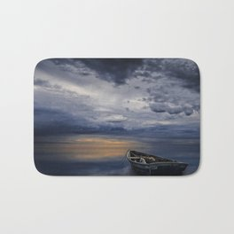 Morning Sunrise with Anchored Wooden Row Boat Bath Mat