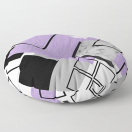 Midcentury Modern Abstract Print (Lilac) Floor Pillow