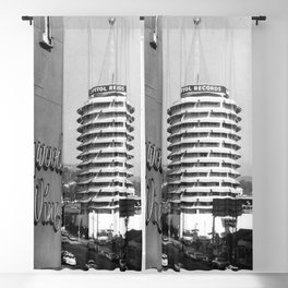 Capital Records Building, Los Angeles, California black and white photograph / black and white photography Blackout Curtain
