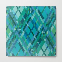 Blue Green Harlequin Pattern Metal Print