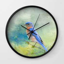 Bluebird In The Garden Wall Clock