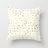 gold dots Throw Pillows featuring Gold Dots by Laura Maria Designs
