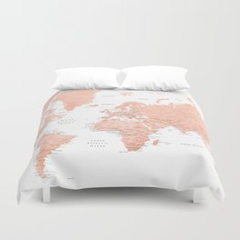 """Rose gold world map with cities, """"Hadi"""" Duvet Cover"""