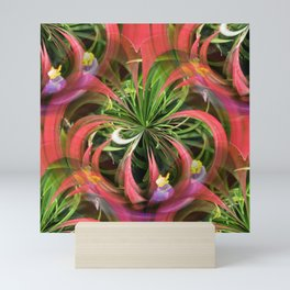 Flower Circle in Pink Green Purple Mini Art Print