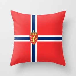Flag of Norway Scandinavian Cross and Coat of Arms Throw Pillow