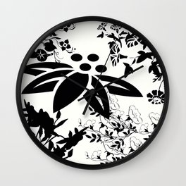 Damask Black and White Toile Floral Graphic Wall Clock
