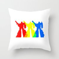 optimus prime Throw Pillows featuring Optimus Prime Colors by Christopher