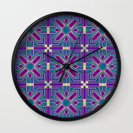 Art Deco Floral Tiles in Fuchsia, Teal and Purple Wall Clock